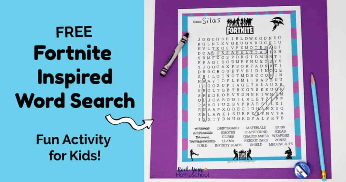 The free printable Fortnite-Inspired Word Search is a fantastic activity for your party, class, homeschool, and family.