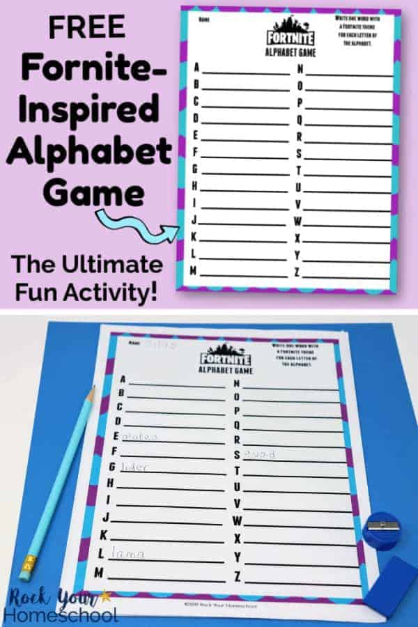 Free Fortnite-Inspired Alphabet Game on light purple background & free printable page with light blue pencil, blue pencil sharpener, & blue eraser on blue paper