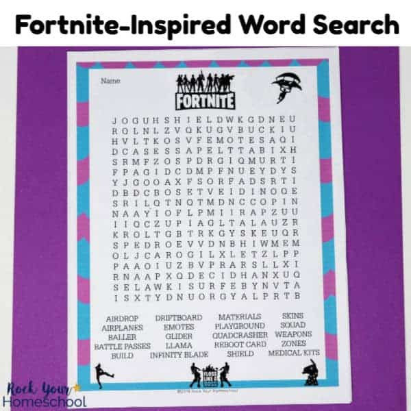 This Fortnite-Inspired Word Search is a fantastic activity to enjoy with your kids.