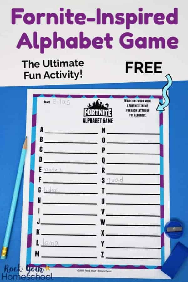 Free printable Fortnite-Inspired Alphabet Game page with light blue pencil, blue pencil sharpener, & blue eraser on blue paper