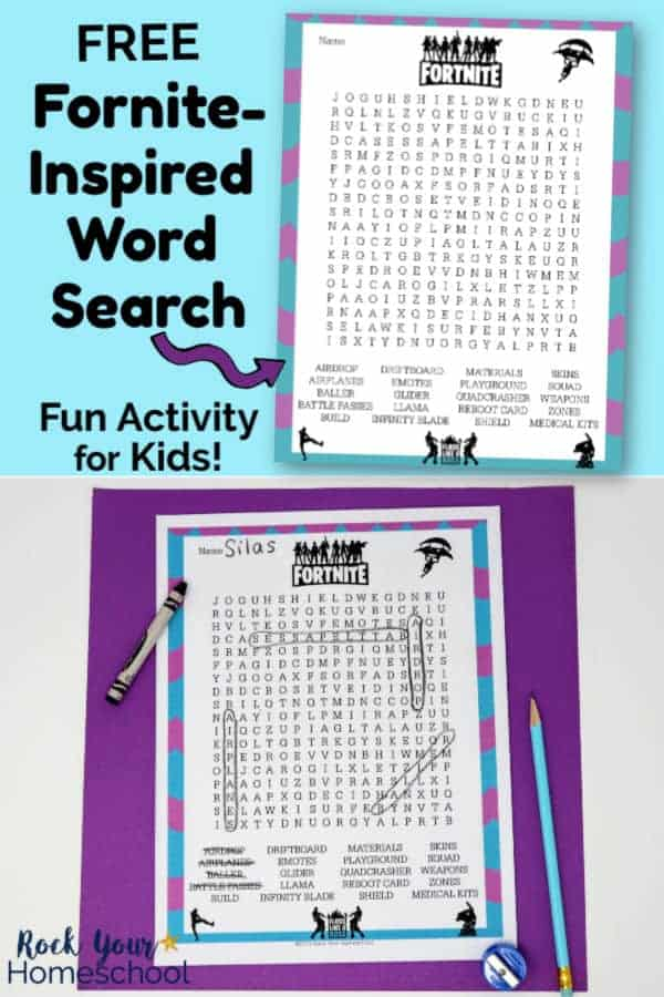 Free Fortnite-Inspired Word Search on light blue background and free printable word search page with black crayon, light blue pencil, & blue pencil sharpener on purple paper