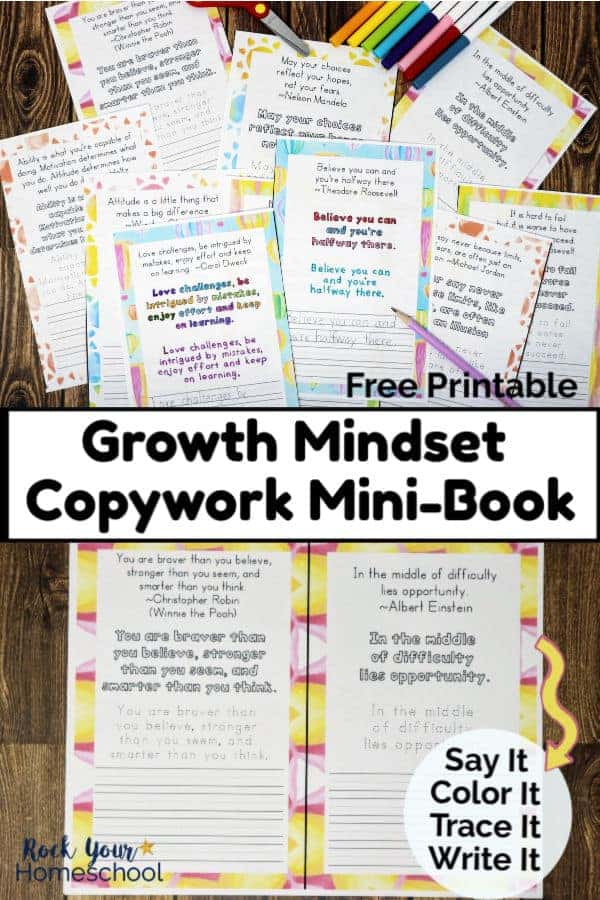 Growth mindset copywork mini-book sheets with rainbow watercolor frames & purple pencil & markers & scissors on wood background and copywork page on wood backbround