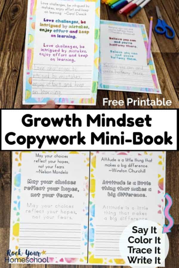 Free Growth Mindset Copywork Mini-Book for Fantastic Learning Fun
