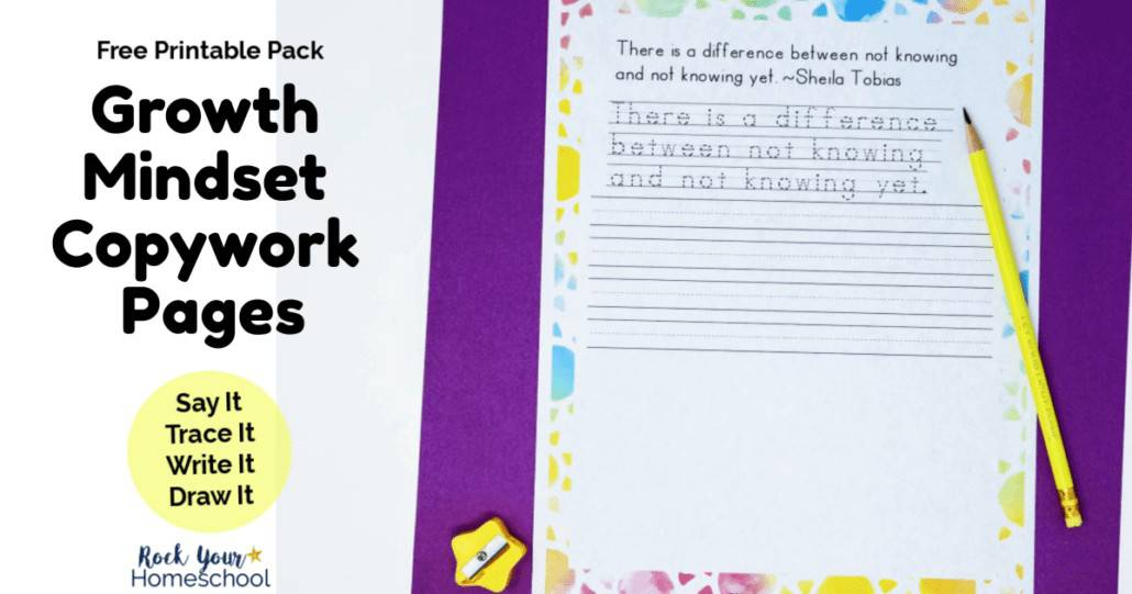 Your kids will enjoy using these growth mindset copywork pages as great reminders of positive thinking & living skills.