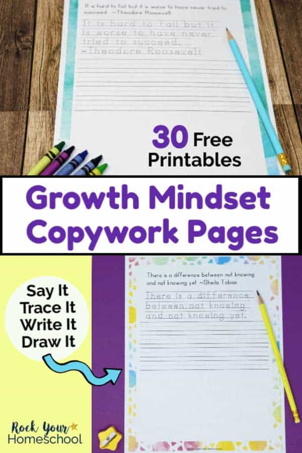 Growth mindset copywork page with blue watercolor frame & light blue pencil & crayons on wood background and growth mindset copywork page with watercolor suns frame with light yellow pencil & yellow star pencil sharpener on purple background