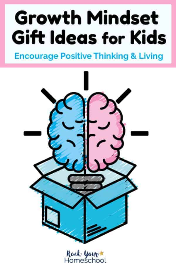drawing of open blue box with blue & pink brain-shaped light bulb with white background to represent growth mindset gift ideas for kids
