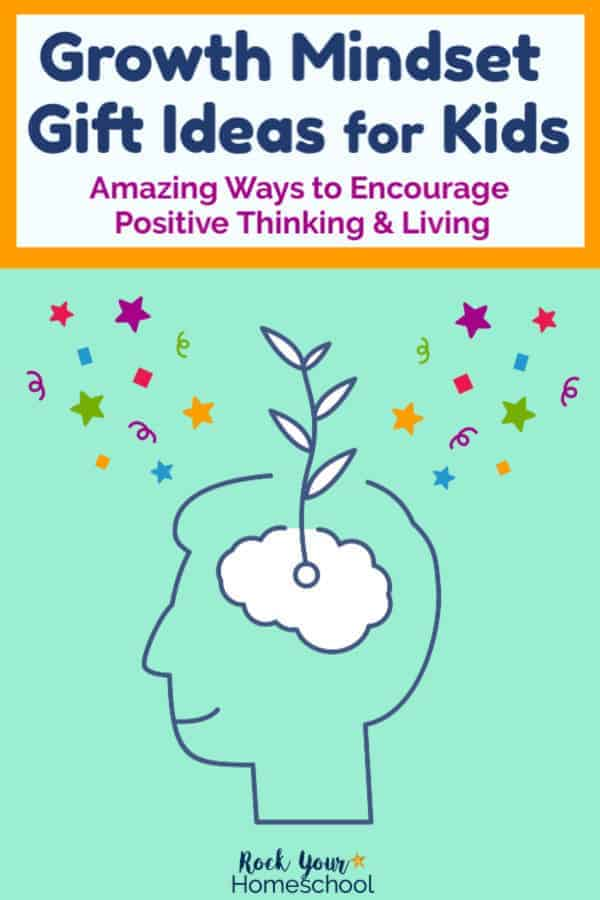 Drawing of outline of smiling boy with white seed & seedling plus colorful confetti & stars to represent growth mindset gift ideas for kids