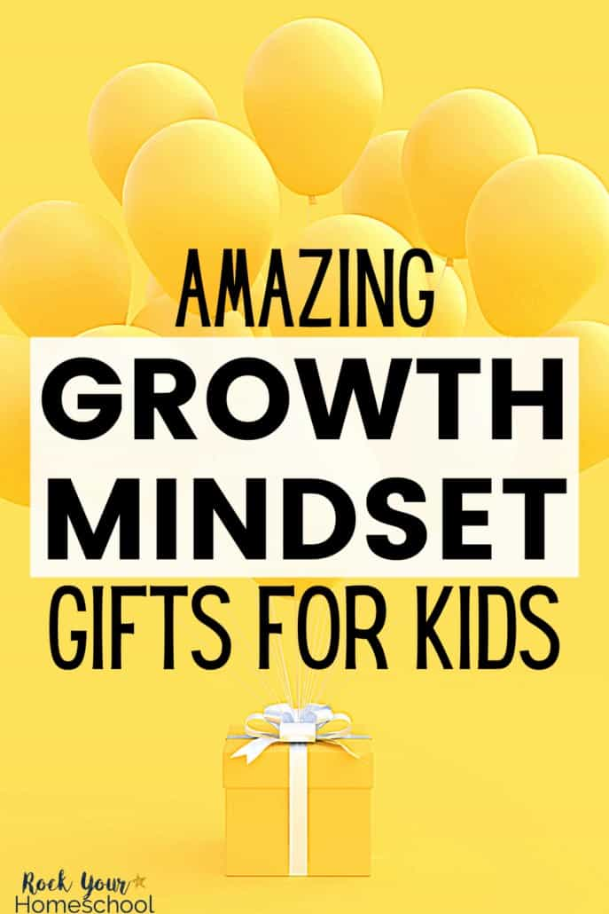 Yellow gift with white bow & yellow balloons to feature how these amazing growth mindset gifts for kids are awesome ways to help your kids learn & practice these positive skills while having fun