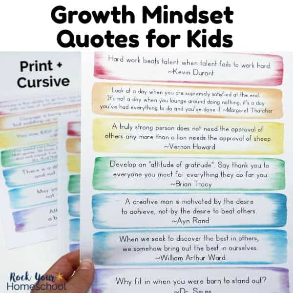 Help your kids learn & practice positive thinking & living skills with these free Growth Mindset Quotes for Kids.