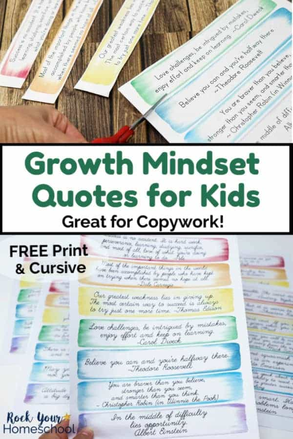Woman using red scissors to cut out growth mindset quotes for kids with wood background and cursive growth mindset quotes in rainbow of watercolor frames with wood background