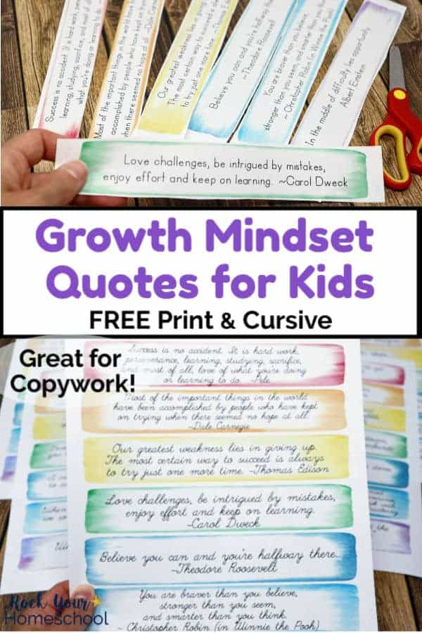 Free Growth Mindset Quotes for Kids for Copywork Fun & More