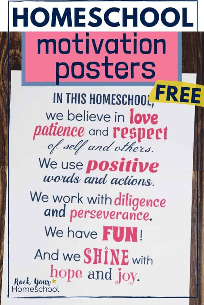 Homeschool poster in navy & pink to feature the positive reminders & motivation you'll get when you use these free printable visual tools