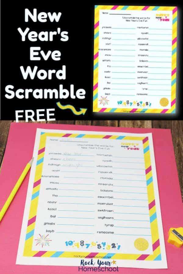 Free New Year's Eve Word Scramble for Awesome Fun Activity