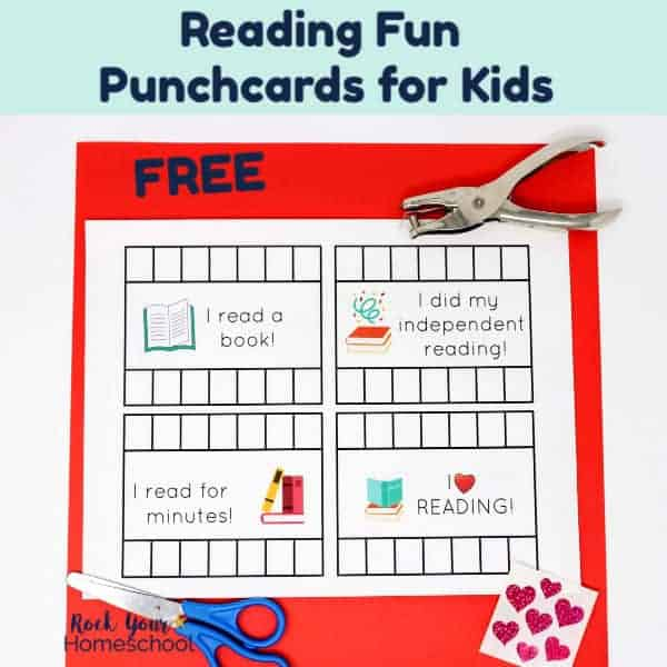 Make reading fun with these free Reading Tracker Punchcards for Kids.