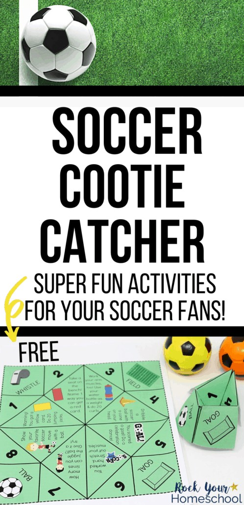 Soccer cootie catcher page & activity with yellow & orange toy soccer balls plus real soccer ball on grass to feature the excellent interactive fun you can have with your kids using this free soccer printable