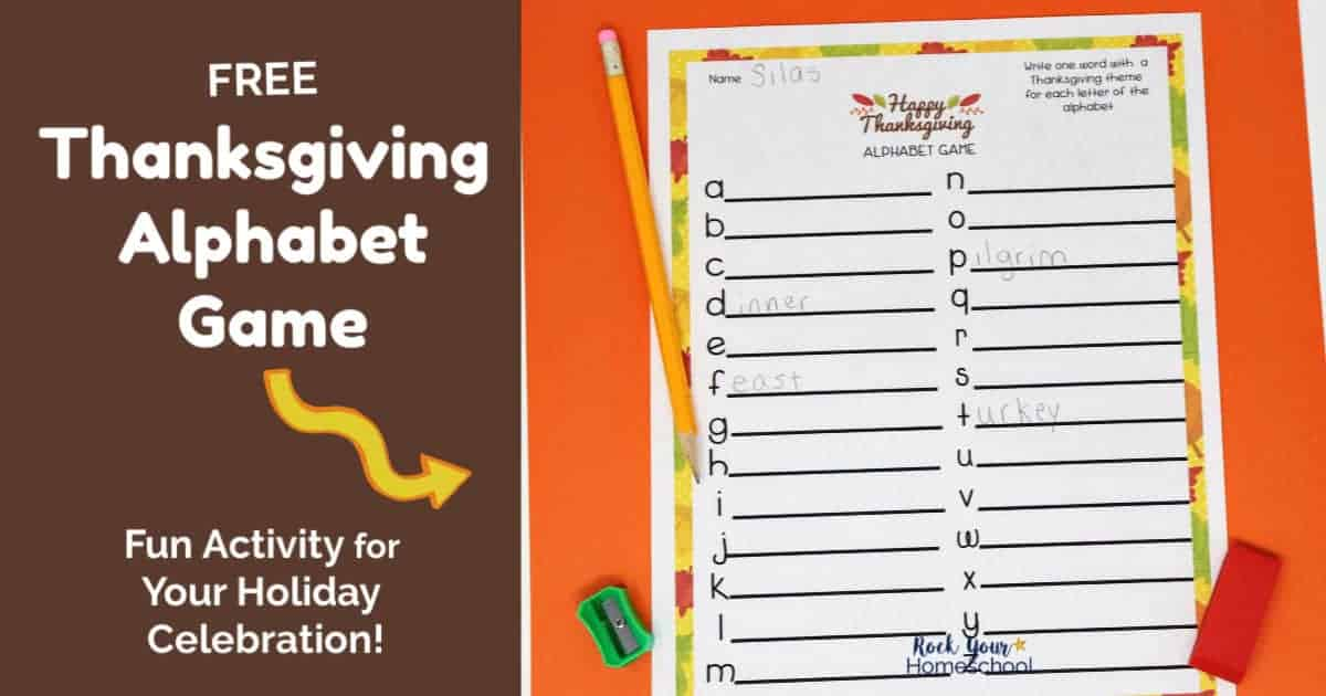 Enjoy a fun interactive game this holiday with this free printable Thanksgiving Alphabet Game.