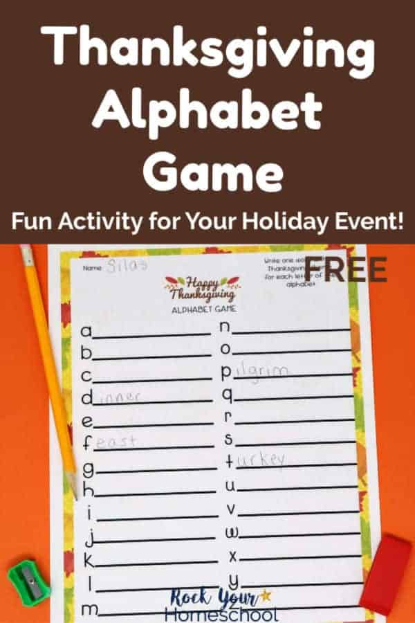 Free Thanksgiving Alphabet Game for Holiday Fun