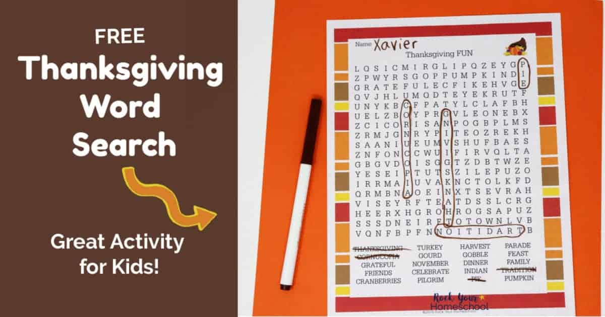 This free Thanksgiving Word Search printable is an awesome activity for your holiday celebration.