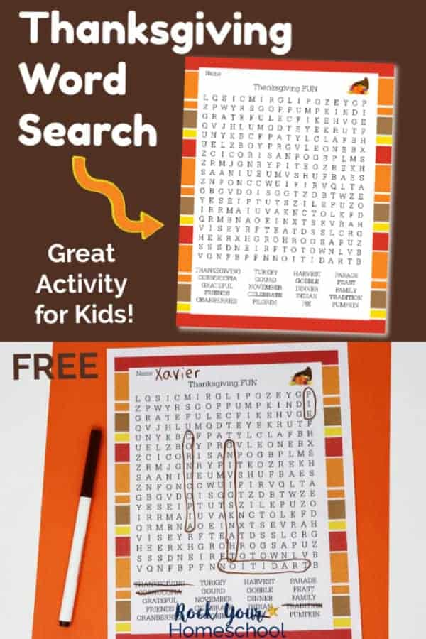 Thanksgiving Word Search on brown background & printable page on orange background with brown marker