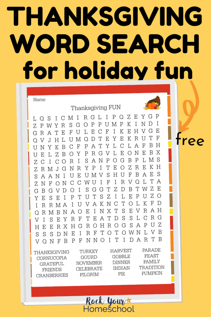 Free Thanksgiving word search is a super fun activity for your kids to enjoy holiday fun.