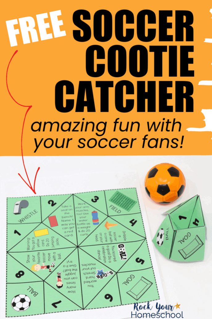 Soccer cootie catcher (paper and folded) with small orange soccer toy to feature the amazing fun your sports fans will have with this free printable activity full of movement prompts to get up & move