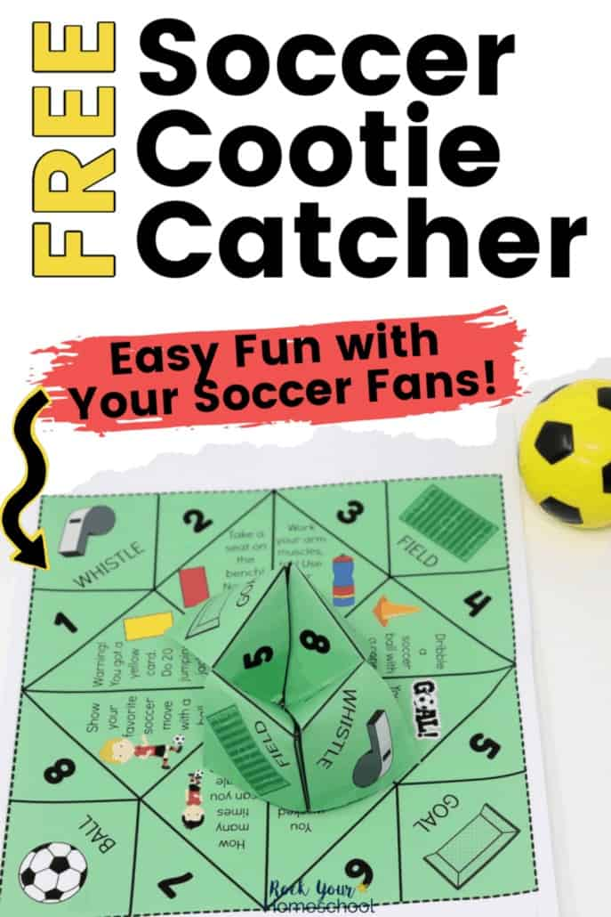 Soccer cootie catcher with small yellow soccer ball toy to feature the fantastic fun you can have with your soccer fans using this free printable activity