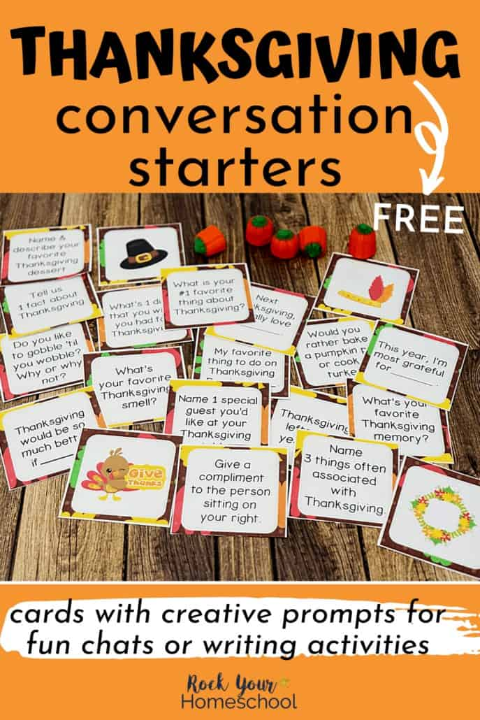 These free Thanksgiving conversation starters are super easy yet fun ways to enjoy holiday-themed chats and writing activities