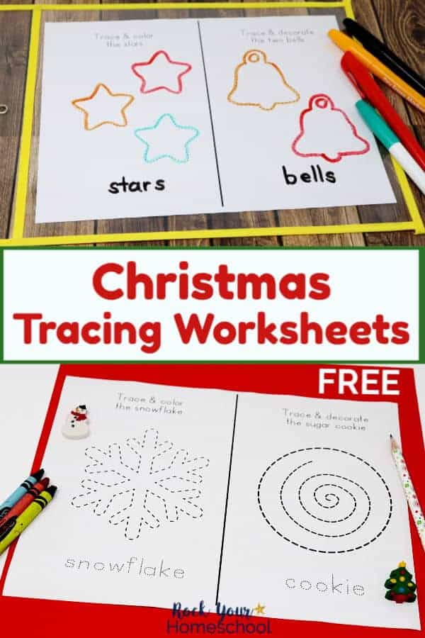 Christmas tracing page featuring stars & bells in yellow dry erase sleeve with dry erase markers on dark wood & Christmas tracing page featuring snowflake & sugar cookie with crayons, pencil, & Christmas tree mini-eraser on red paper