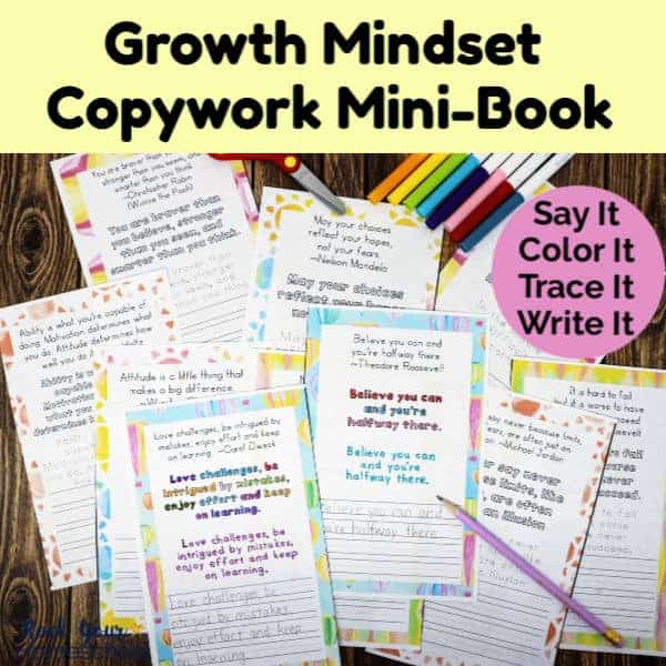 Make a special keepsake with your kids using this Growth Mindset Copywork Mini-Book.