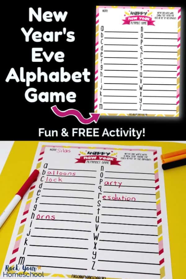 New Year's Eve Alphabet Game printable on black background and printable page with markers on yellow paper