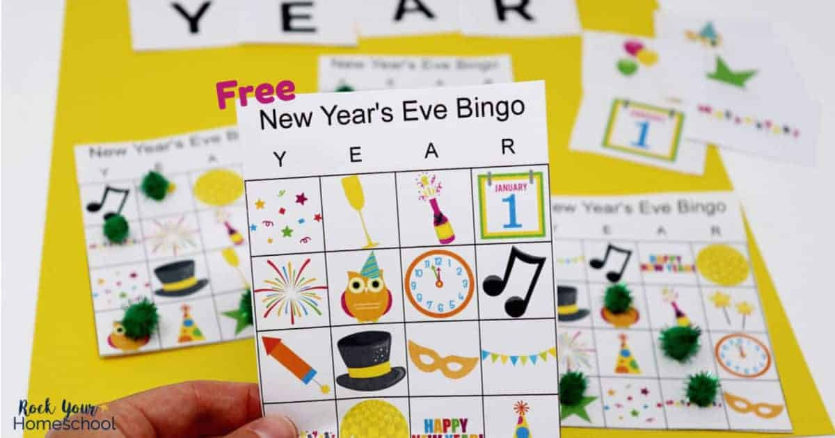 Enjoy a fun activity with kids on New Year's Eve bingo game.