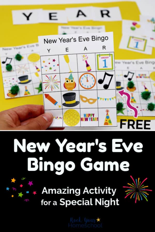 Woman holding New Year's Eve Bingo Card with other game pieces on yellow background