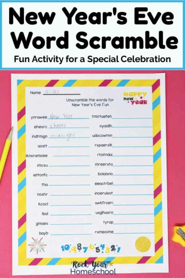 New Year's Eve Word Scramble printable page with yellow pencil & sharpener on pink paper