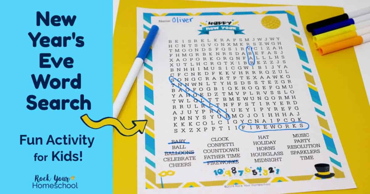 Your kids will have a blast with this New Year's Eve word search activity.