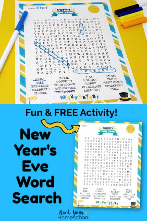 New Year's Eve Word Search with markers on yellow paper & printable on bright light blue paper with yellow arrow