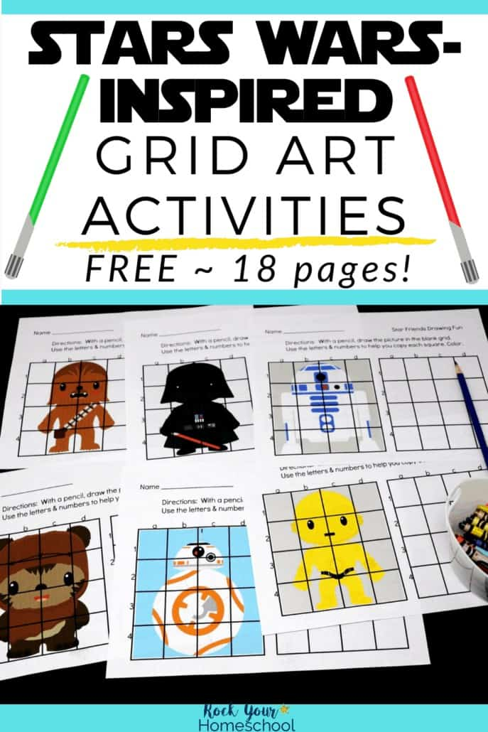 Variety of Star Wars-Inspired Grid Art Activities with Chewbacca, Darth Vader, Rs-D2, Ewok, BB-8, & C-3PO to feature the drawing fun your Star Wars fans will have with these 18 free printable activities
