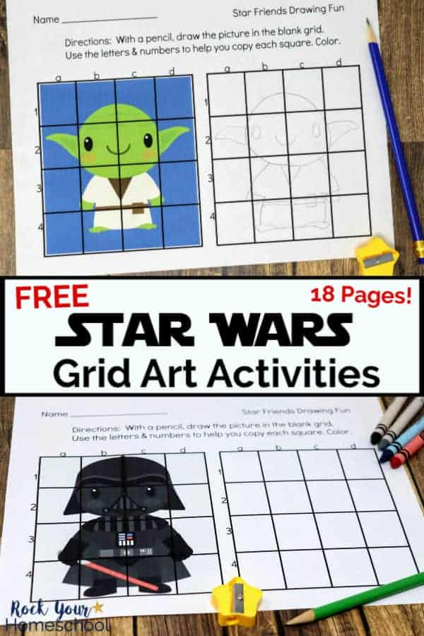 Star Wars-Inspired Grid Art activity printable featuring Yoda with pencil & yellow star pencil sharpener on wood background and Star Wars-Inspired Grid Art Activity printable featuring Darth Vader with crayons & pencil on wood background