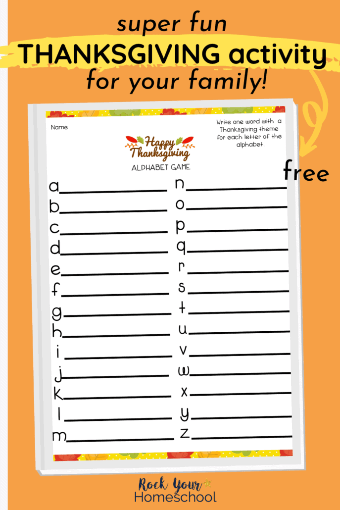 Thanksgiving Alphabet Game printable to feature the easy print-and-go fun you can have with this free printable activity