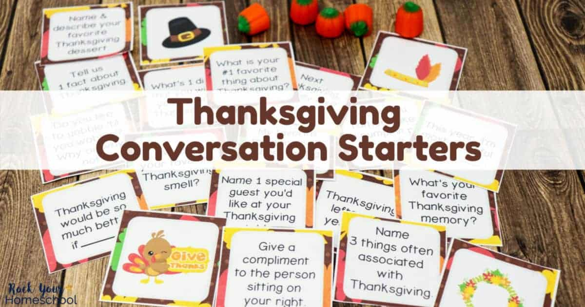 Get these free printable Thanksgiving Conversation Starters to enjoy easy holiday fun with your family, friends, & loved ones.
