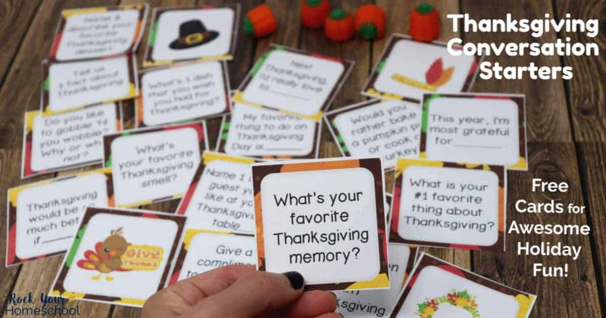 Enjoy fantastic holiday fun with these free Thanksgiving Conversation Starters cards. Such a great activity to enjoy with family & friends!