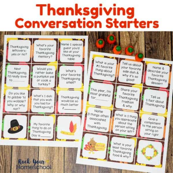 Enjoy these Thanksgiving Conversation Starters for fantastic holiday fun with your family.