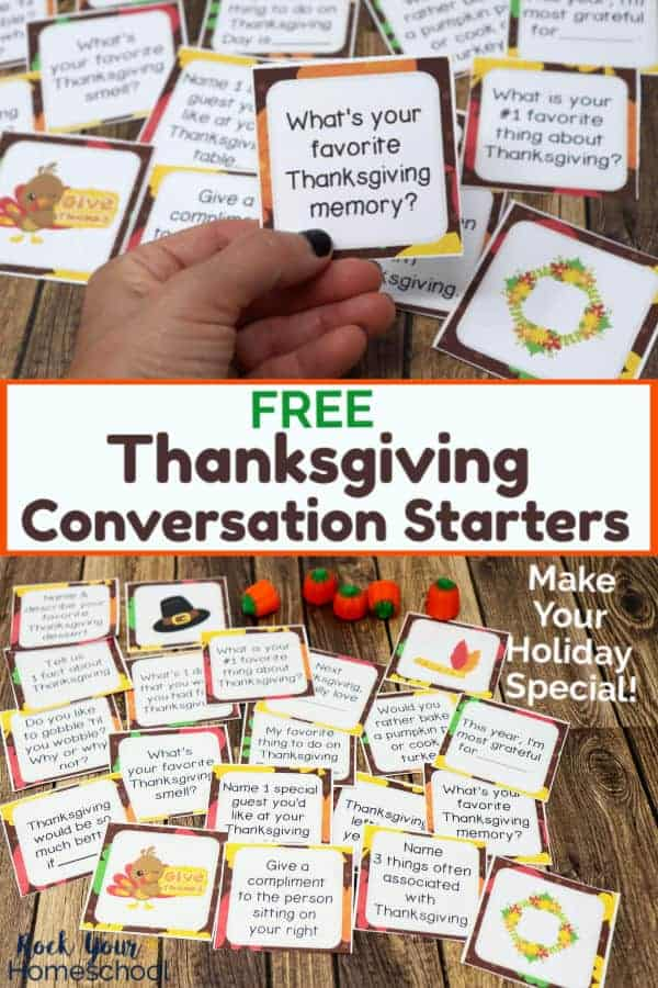 Woman holding a Thanksgiving Conversation Starter card with other cards on wood background & display of Thanksgiving Conversation Starters cards with candy pumpkins on wood background
