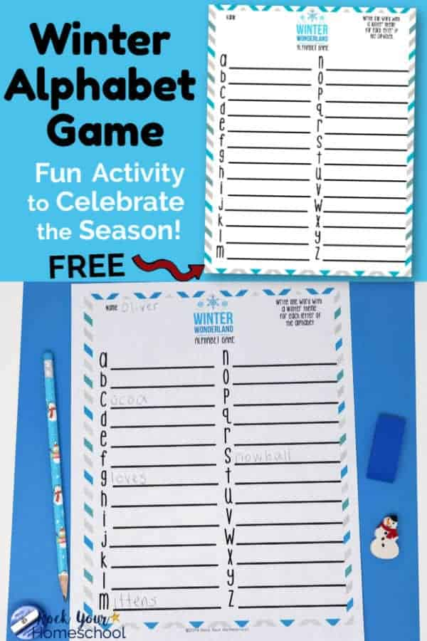 Winter Alphabet Game printable on light blue background & printable page with snowman pencil, snowman mini-eraser, & blue eraser & blue pencil sharpener on blue paper