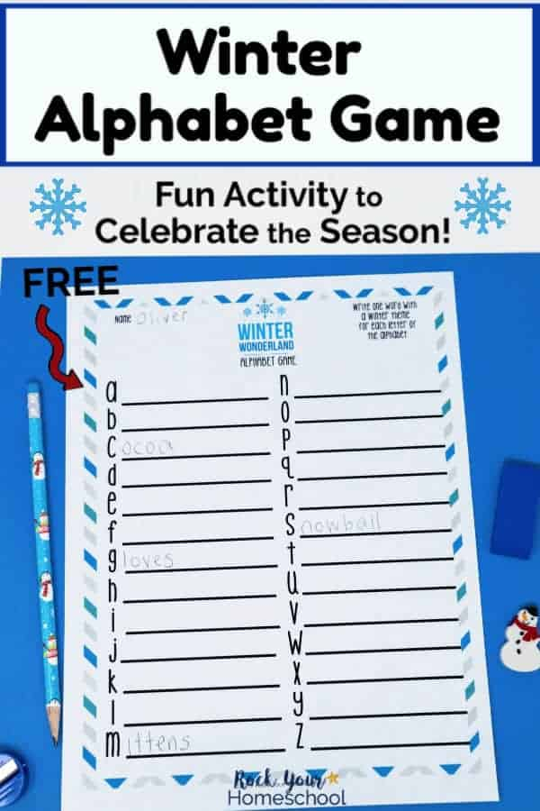 Free Winter Alphabet Game for Fun Activity for Kids