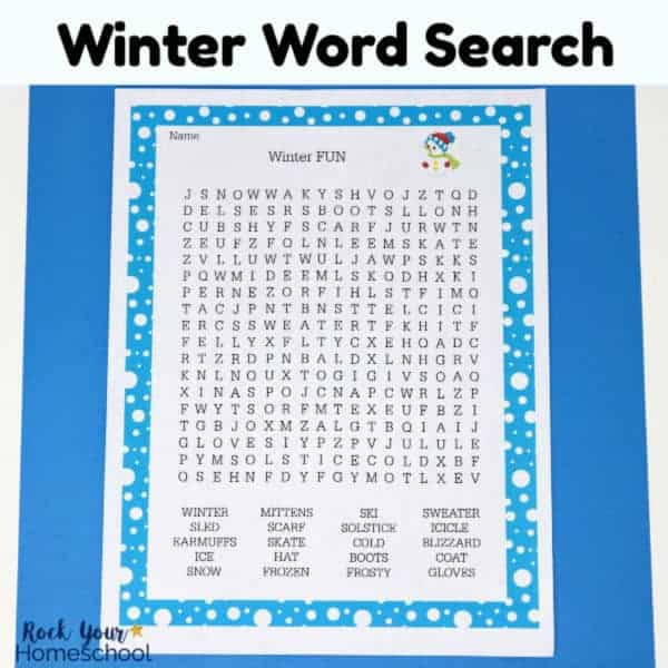 Your kids will love this free printable Winter Fun Word Search.