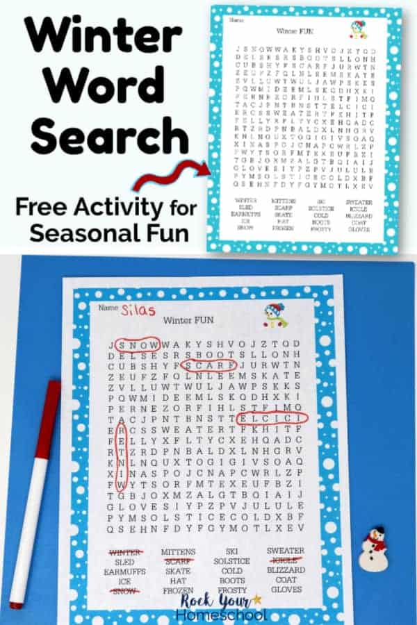 Winter Word Search printable on white background & printable page with red marker & snowman mini-eraser on blue paper