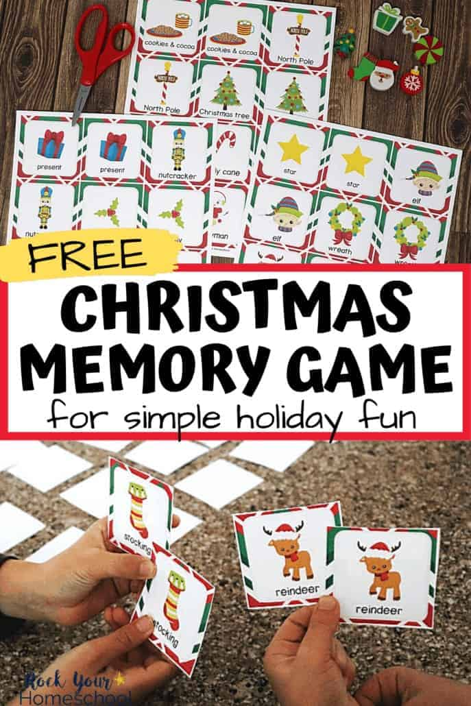 Two boys playing this free Christmas memory game to feature how you can use this fun activity to boost your holiday season with your kids