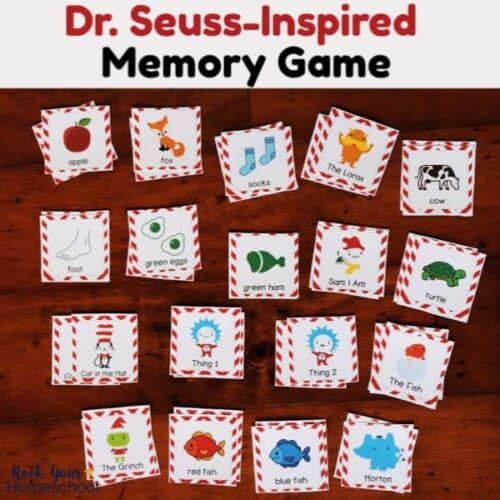 Enjoy a fun learning game with your kids using this Dr. Seuss-Inspired memory game