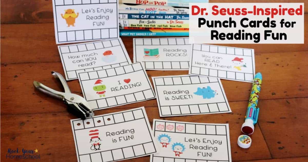 These Dr. Seuss-Inspired Reading Punch Cards are marvelous ways to help kids track reading progress