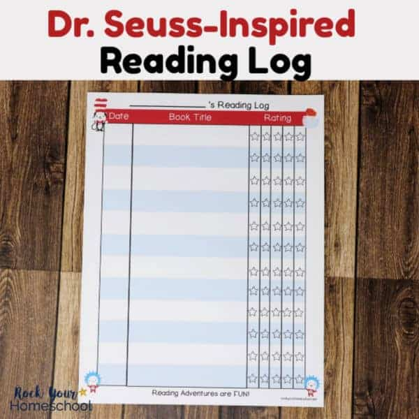 Dr. Seuss-Inspired Reading Log featuring The Cat in the Hat, The Fish, Thing 1, & Thing 2 for a fun way to track reading progress